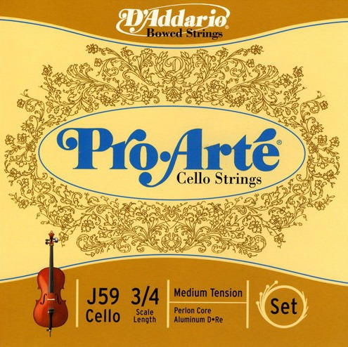 encordado daddario j59 3/4m pro arte t media para cello 3/4