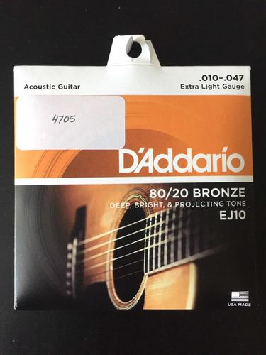 encordado de guitarra acustica ej10 daddario 010