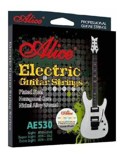 encordado de guitarra eléctrica alice 010