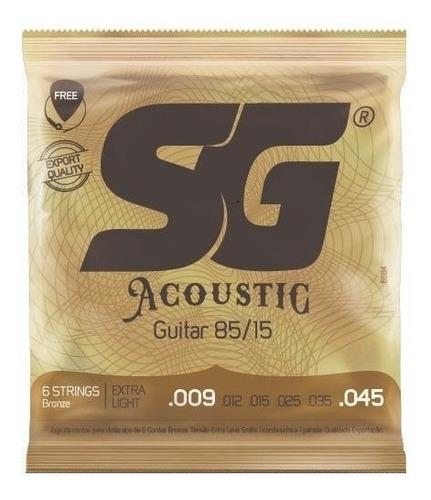 encordoamento cordas violão aço 009 sg 6684 palheta extra