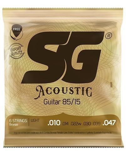 encordoamento cordas violão aço 010 sg 6685 palheta extra