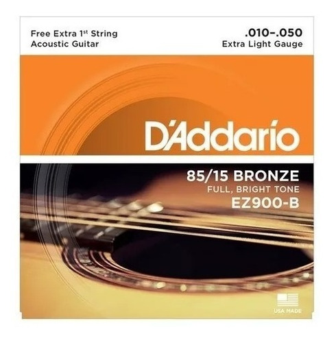 encordoamento cordas violão aço daddario ez900 b 010-050