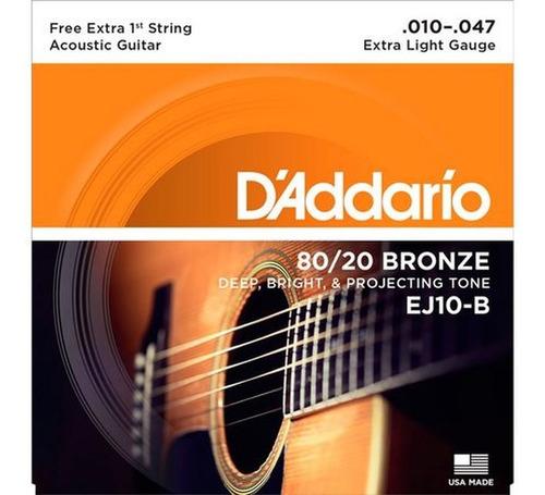 encordoamento daddario ej10b violão aço bronze 80/20