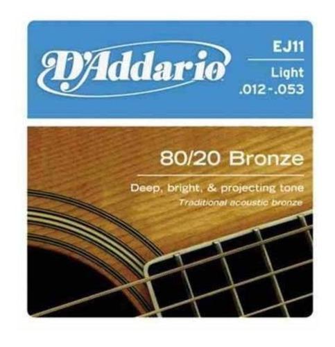 encordoamento daddario ej11 violão aço bronze 80/20 light