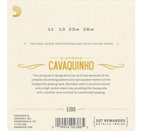 encordoamento d'addario p/ cavaquinho ej93 - ec0393