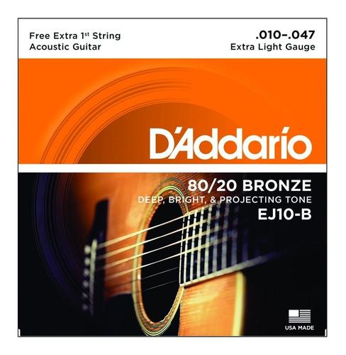 encordoamento daddario violão aço bronze ej10-b 010 mi extra