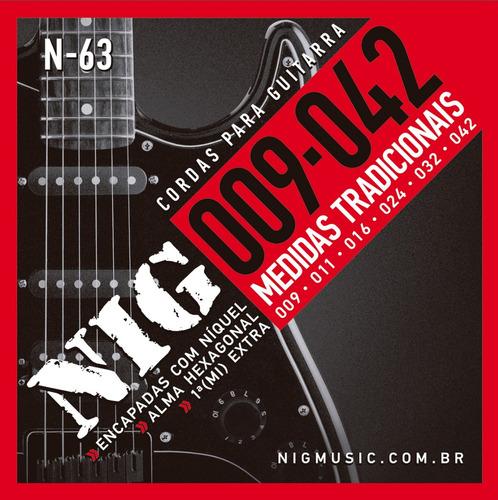 encordoamento nig guitarra 009 n-63 tradicional + mi extra