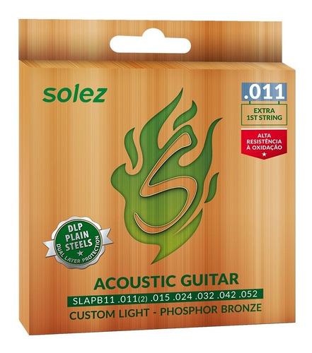 encordoamento solez phosphor bronze violão slapb11 0.11/0.52
