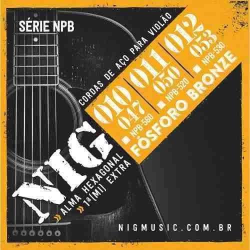 encordoamento violão aço 010 nig fósforo bronze npb-560