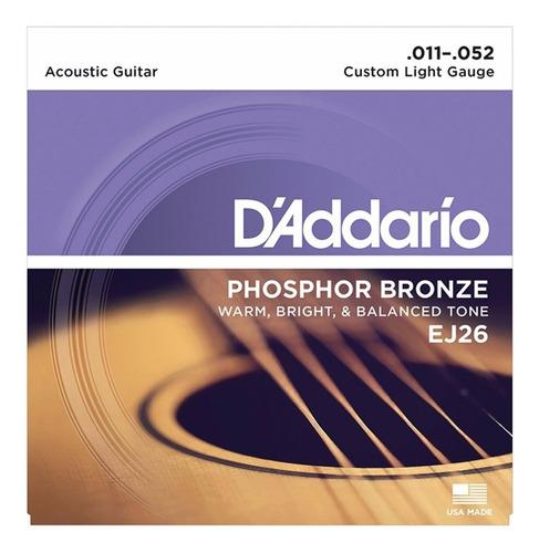 encordoamento violão aço 011 daddario ej26 phosphor bronze