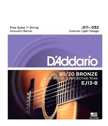 encordoamento violão aço daddario ej13-b 011 bronze mi extra