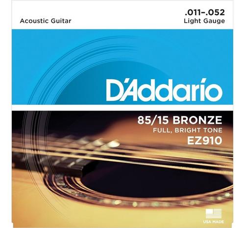 encordoamento violão aço daddario ez910 011 bronze mi extra
