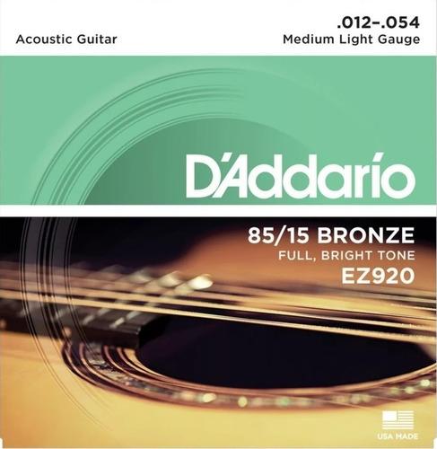 encordoamento violão aço daddario ez920 012 medium