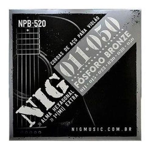 encordoamento violão aço folk 011 npb520 fósforo bronze nig