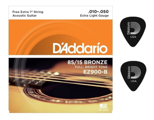 encordoamento violão daddario aço ez900b + 1 mi extra 10/50