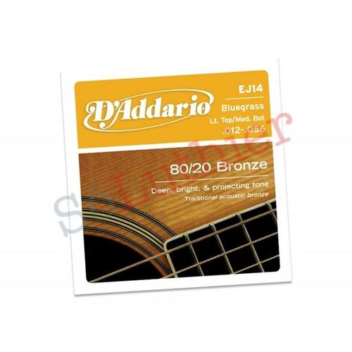 encordoamento violão d'addario ej14 bluegrass 012-056