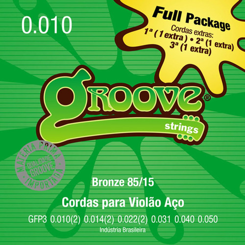 encordoamento violão groove gfp3 010 bronze 85 15 3 extras