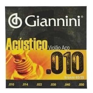 encordoamentos em aço inox para violão .010-.050 - giannini