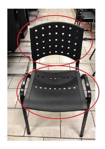 encosto encosto plástico preto cadeira fixa iso