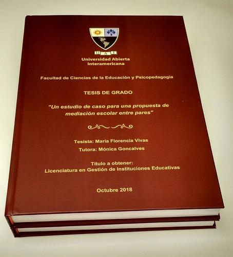 encuadernación e impresión de tesis y libros