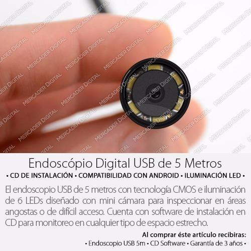 endoscopio boroscopio usb de 5mts inspección cámara android