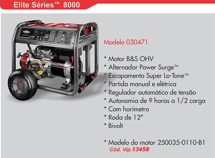 0fab3e346af Gerador Energia 8.000w 13.5hp 420cc Briggs Partida Eletrica - R ...