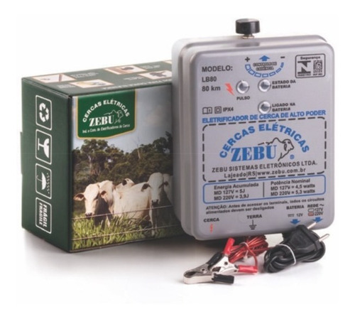 energizador zebu cerco eléctrico ganadero dual 12-110v 80km
