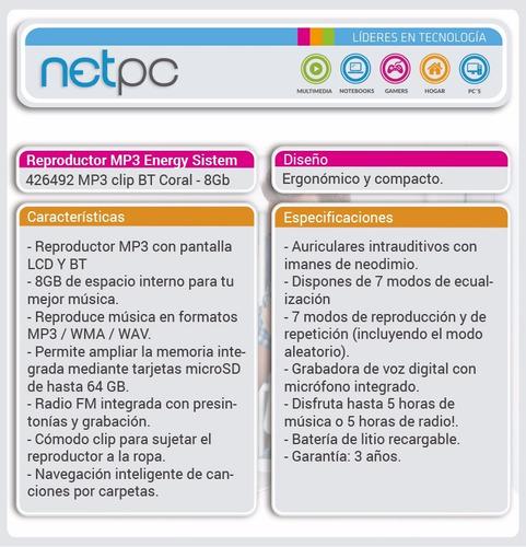 energy sistem mp3 clip bt coral o bt mint - 8 gb - netpc