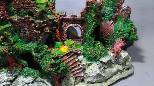 enfeite aquário castelo ruína grande com plantas 33cm