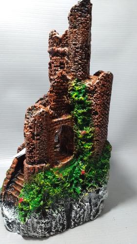 enfeite aquário castelo toca ruína médio 12x12x22cm