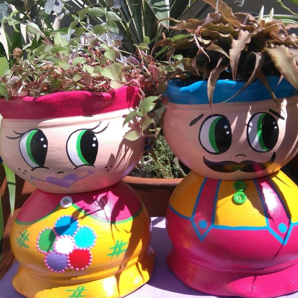 Enfeite De Vaso ~ Enfeite De Jardim Bonecos Vasos Cer u00e2mica R$ 69,90