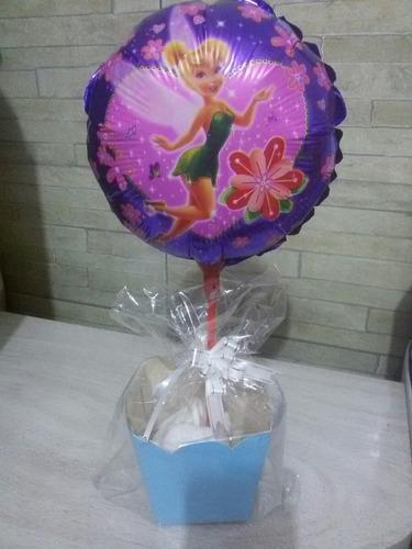 enfeite de mesa c/ balão sininho + cachepo c/ 10 r$ 35,99