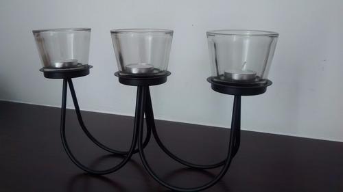 enfeite de mesa porta velas castiçal em metal com 3 copos