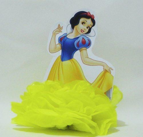 enfeite de papel de seda em pompom  festa princesas disney