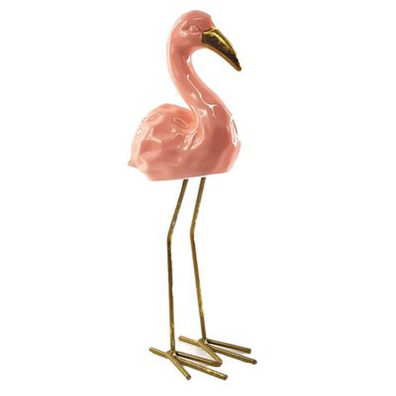 enfeite decoração pássaro flamingo cerâmica rosa 25cm altura r 39