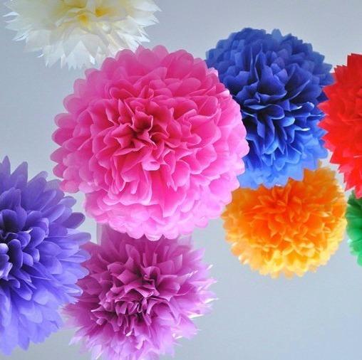 Enfeite Decorativo Flores Papel Crepom 20cm 4 Unidades