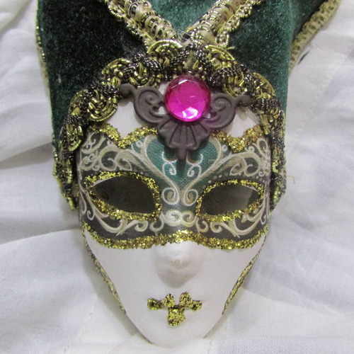 enfeite máscara de veneza biscuit antiga