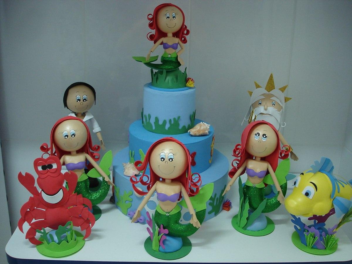 Enfeite Mesa Festa Infantil Pequena Sereia R$ 280,00 em Mercado Livre -> Enfeites De Mesa Tema Sereia