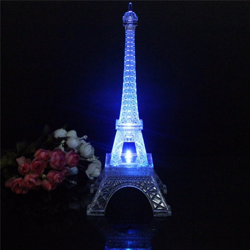Enfeite Miniatura Torre Eiffel 25cm Led Colorida Decoracao R 54
