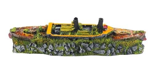 enfeite para aquário - barco cruzeiro