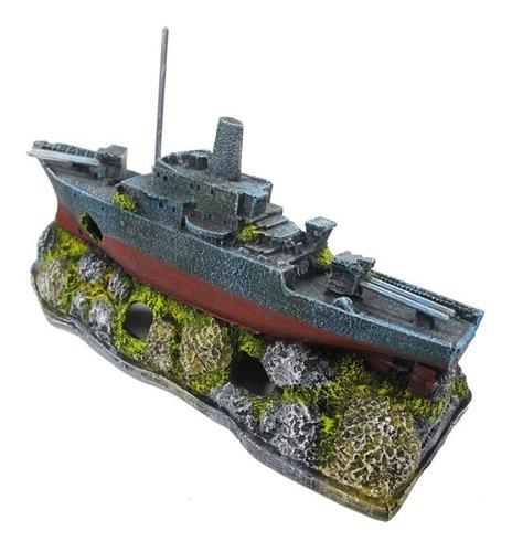 enfeite para aquário - barco destroyer