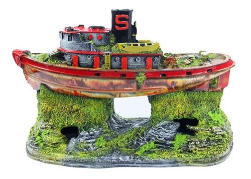 enfeite para aquário - barco diesel