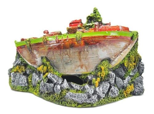 enfeite para aquário - barco guerra