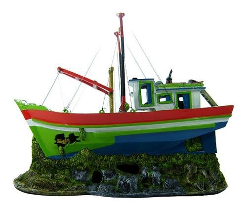 enfeite para aquário - barco traineira - cod. b20