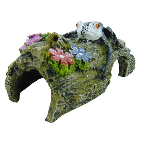enfeite para aquário - tronco com rãzinha