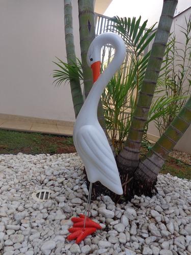enfeite para jardim garça em cerâmica  - 50cm x 10cm