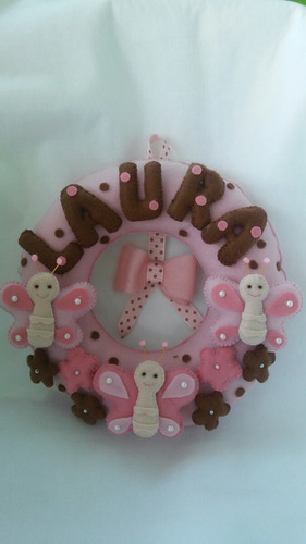 enfeite porta maternidade borboletas rosa e marrom
