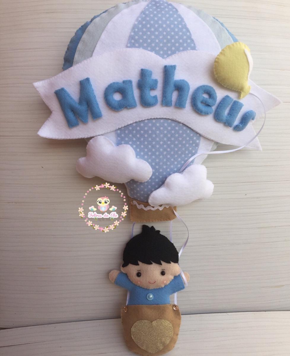 b7f062c9404a3 enfeite porta maternidade menino no balão feltro. Carregando zoom.