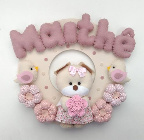 enfeite porta maternidade ursinha flores passarinho feltro