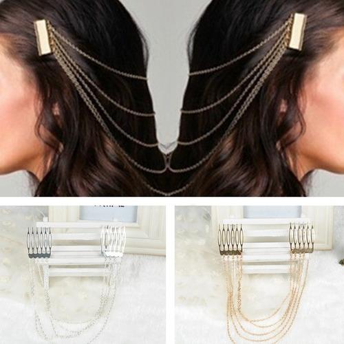 enfeite prateado para cabelo - novo